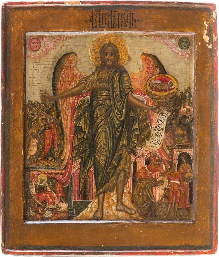 ICON WITH JOHN THE BAPTIST AS ANGEL OF THE DESERT WITH VITA-SCENES - photo 1