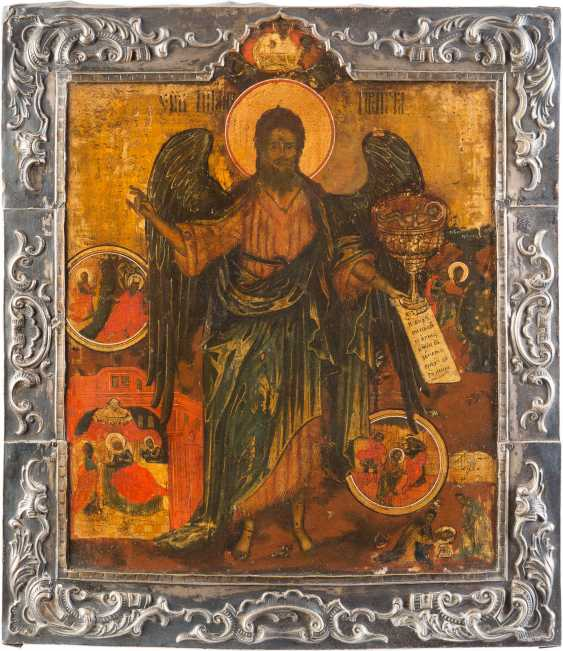 ICON WITH JOHN THE BAPTIST AS ANGEL OF THE DESERT WITH SILVER BASMA - photo 1