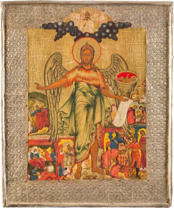 ICON WITH JOHN THE BAPTIST AS ANGEL OF THE DESERT, WITH SCENES OF HIS VITA WITH BASMA - photo 1