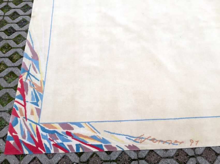 Prof. Heinz Werner: Designer carpet, bright, decor/pattern 1001 night, 1991, wool, Hand-knotted, one of a kind. - photo 2