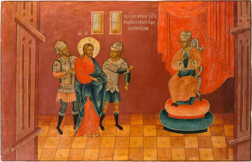 MONUMENTALE IKONE MIT CHRIST IN FRONT OF PONTIUS PILATE AUS EINER KIRCHEN-IKONOSTASE - photo 1
