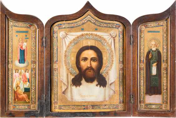 THIS LARGE-FORMAT TRIPTYCH WITH THE MANDYLION, THE MOTHER OF GOD 'JOY OF ALL WHO SORROW', AND TO THE HOLY SERGEI OF RADONEZH - photo 1