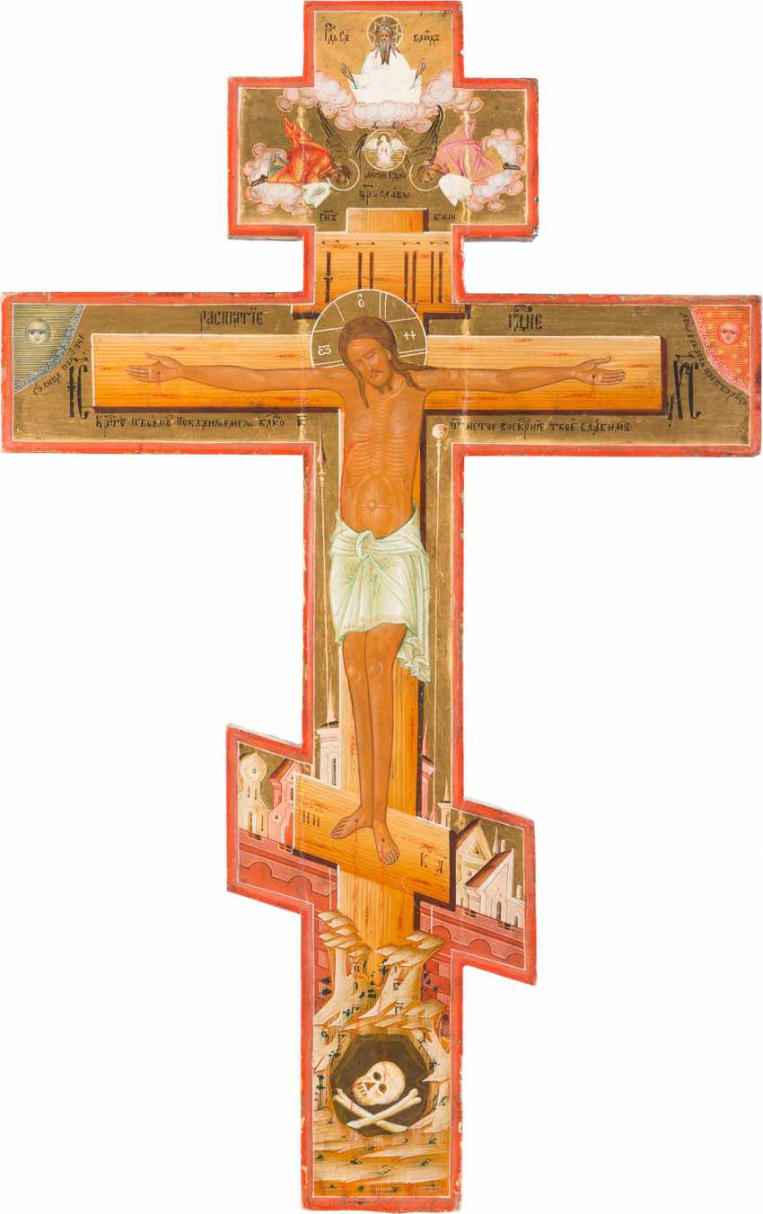 LARGE CRUCIFIX WITH THE CRUCIFIXION AND THE PASSION OF THE CHRIST - photo 1