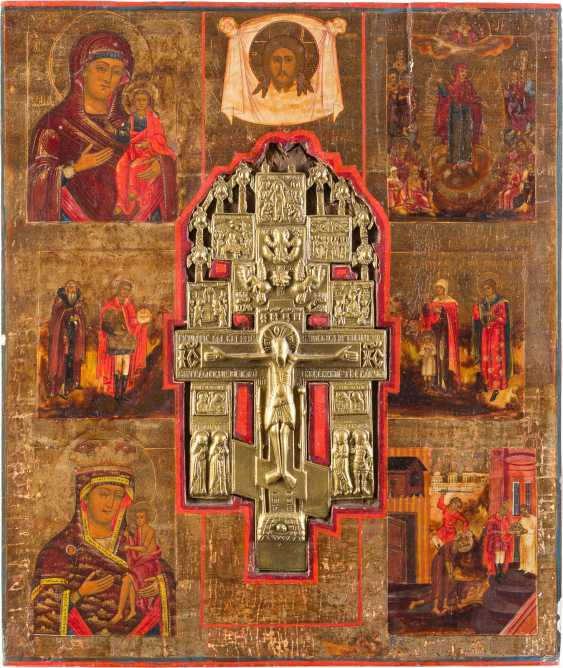LARGE-FORMAT ICON WITH THE CRUCIFIXION OF CHRIST, MERCY PICTURES OF THE MOTHER OF GOD AND SELECTED SAINTS - photo 1