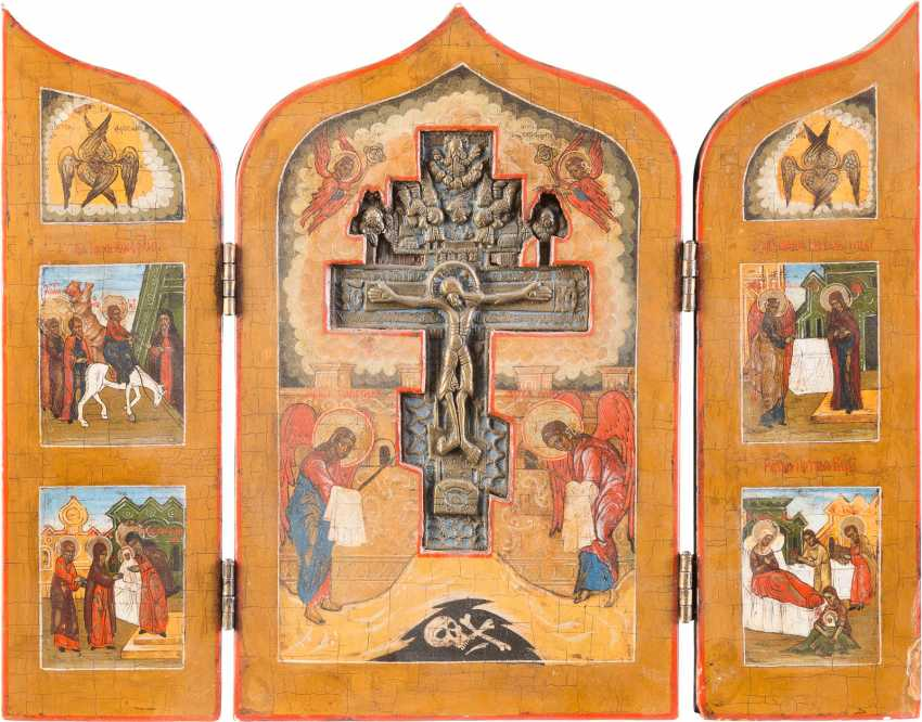 SMALL TRIPTYCH WITH THE BLESSING OF THE CROSS AND THE FEAST DAYS - photo 1