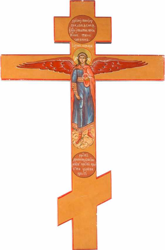 LARGE-FORMAT ICONOSTASIS CROSS, WITH THE CRUCIFIXION OF CHRIST AND THE ARCHANGEL MICHAEL - photo 1