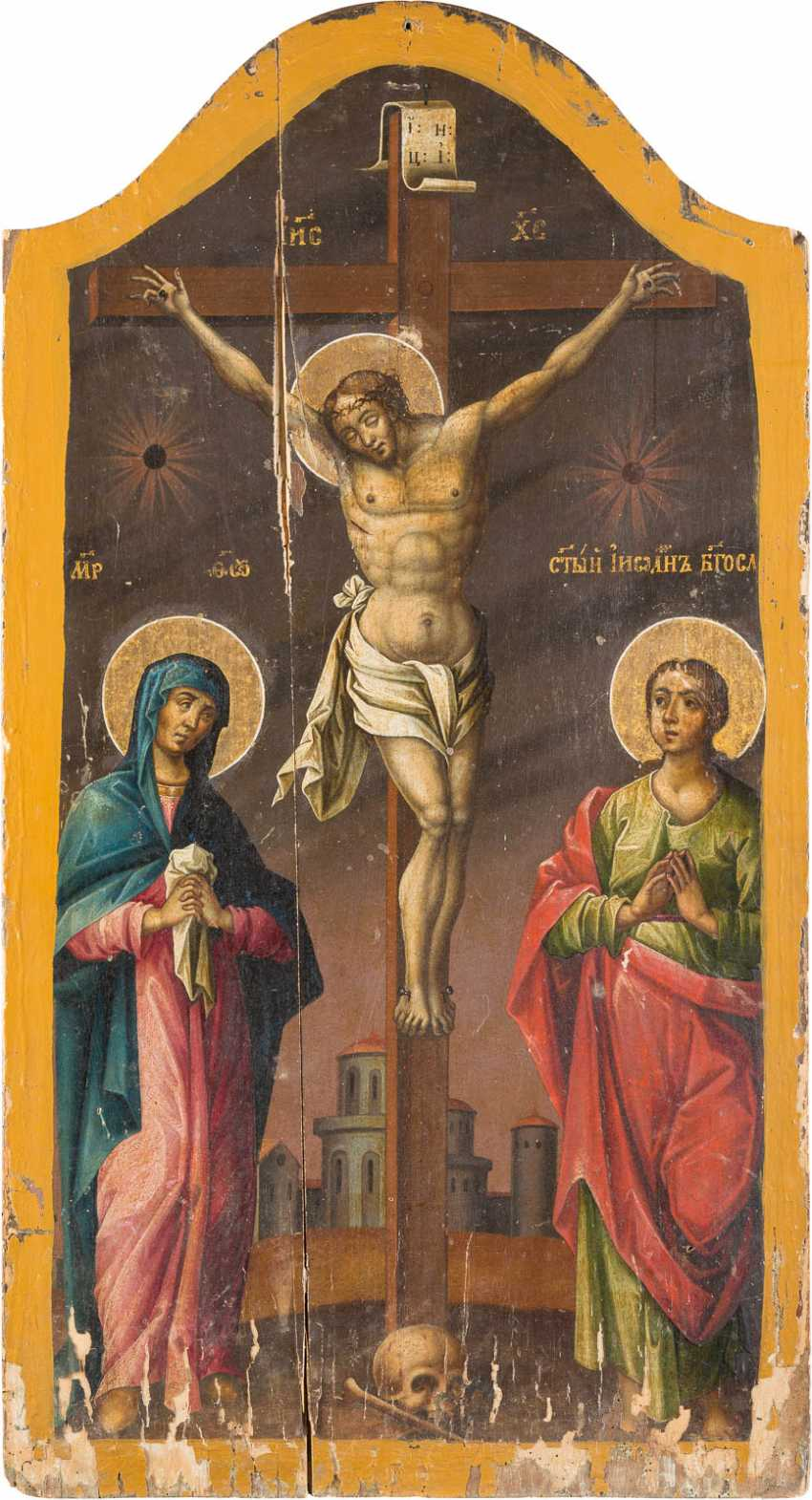 A MONUMENTAL ICON WITH THE CRUCIFIXION OF CHRIST - photo 1