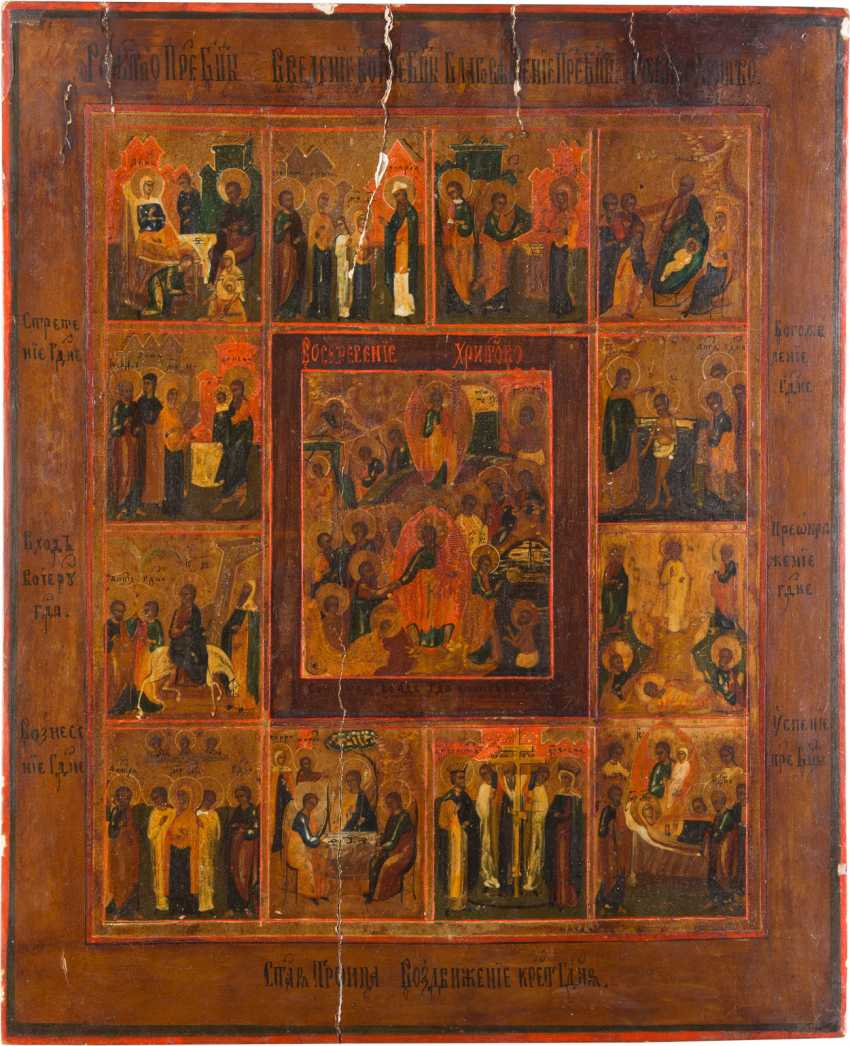 LARGE-SCALE ICON OF THE DESCENT INTO HELL AND RESURRECTION OF CHRIST AND TWELVE HIGH-STRENGTH - photo 1