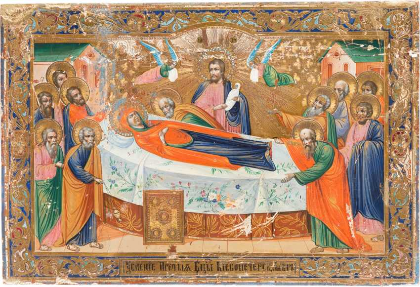 A BIG ICON WITH THE DORMITION OF THE MOTHER OF GOD - photo 1