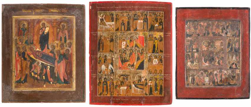 THREE ICONS: HIGH FEASTS OF THE ORTHODOX CHURCH YEAR DORMITION OF THE MOTHER OF GOD - photo 1