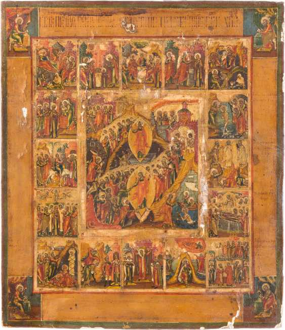 ICON OF THE DESCENT INTO HELL AND RESURRECTION OF CHRIST, AS WELL AS 16 HIGH STRENGTH OF THE ORTHODOX CHURCH YEAR - photo 1