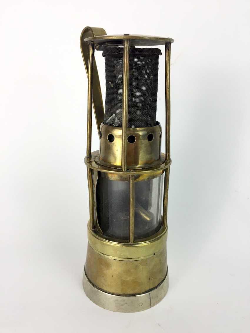 Miner's lamp made of brass, round, glass, mount, 19. Century - photo 1
