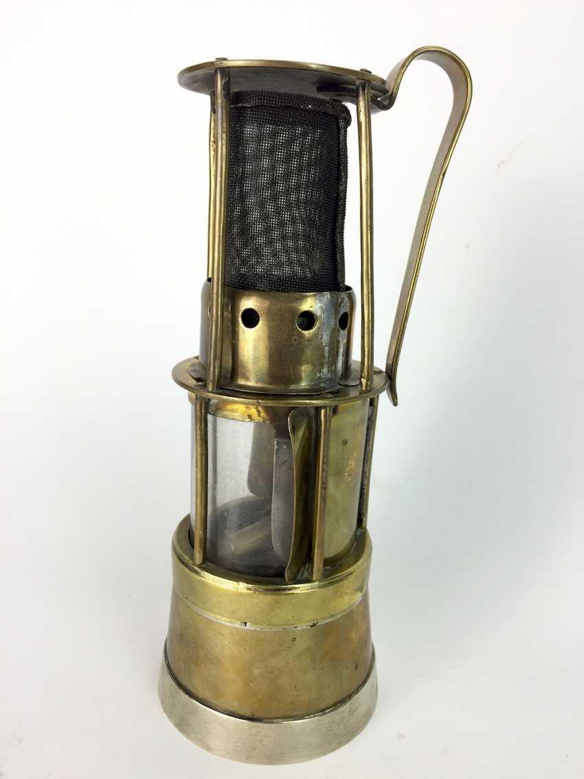 Miner's lamp made of brass, round, glass, mount, 19. Century - photo 2