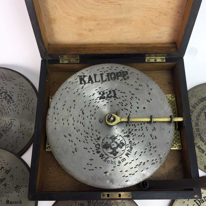 Kalliope music box / Polyphon / Symphonium: Kalliope, Leipzig / Dippoldiswalde, 17 perforated plates, C. 1910, funktionstüc - photo 5