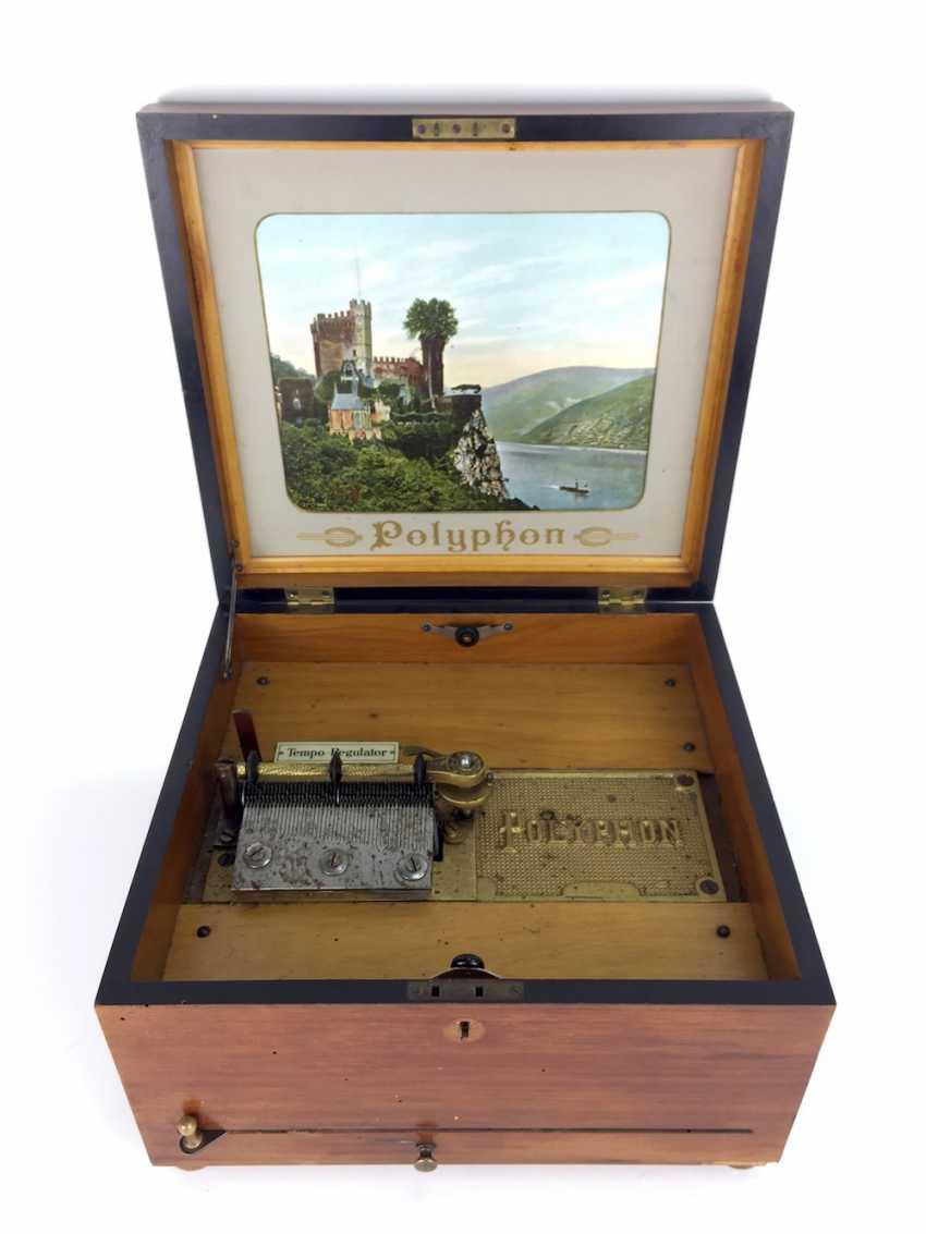 Polyphon / Symphonium / music box / roll box with 14 very beautiful perforated plates, walnut, CA 1900, Leipzig, very good! - photo 1