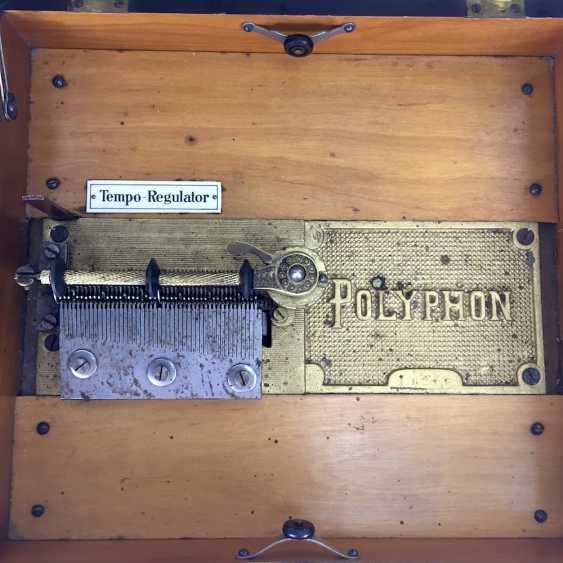 Polyphon / Symphonium / music box / roll box with 14 very beautiful perforated plates, walnut, CA 1900, Leipzig, very good! - photo 2