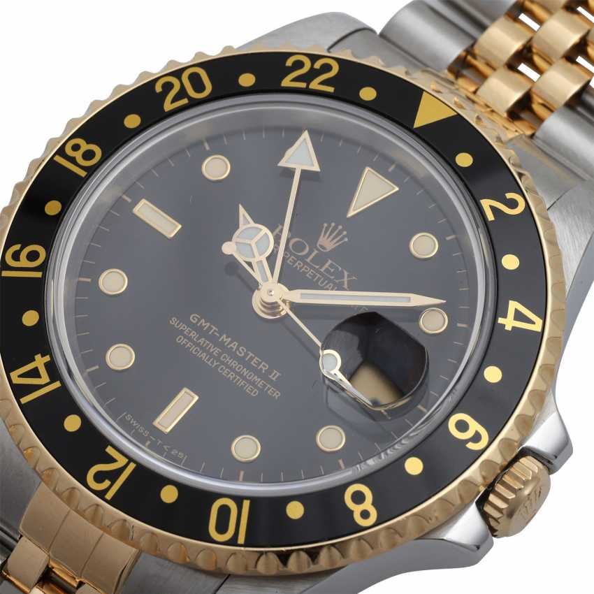 ROLEX GMT-Master II mens Watch, Ref. 16713LN, environ 1992. En acier inoxydable/Or 18K. - photo 6