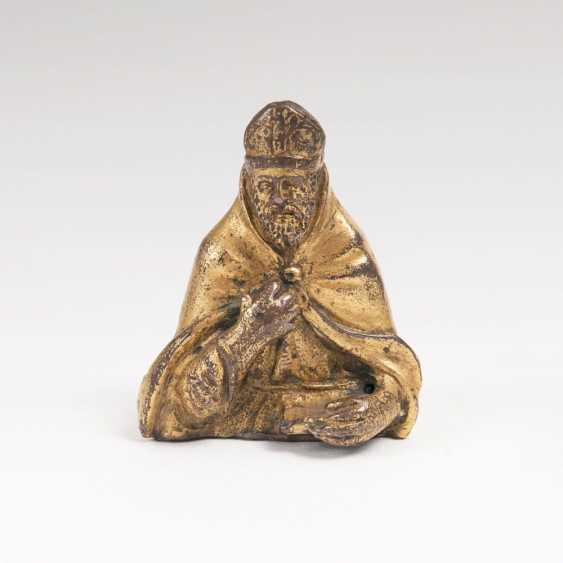 Miniature Bronze of a Bishop bust - photo 1