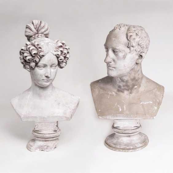 Pair of busts of Tsar Nicholas I and his wife Alexandra Fyodorovna - photo 1