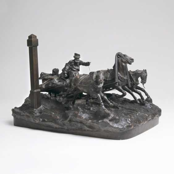 Large Bronze group 'Troika in a wild ride' - photo 1