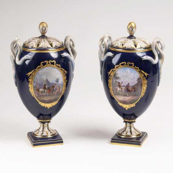 Few snake handle vases with Dutch scenes by Wouwerman - photo 1