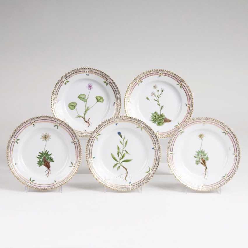 Set of 5 'Flora Danica bread plates - photo 1