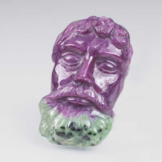 Ruby zoisite stone with portrait of a man - photo 1