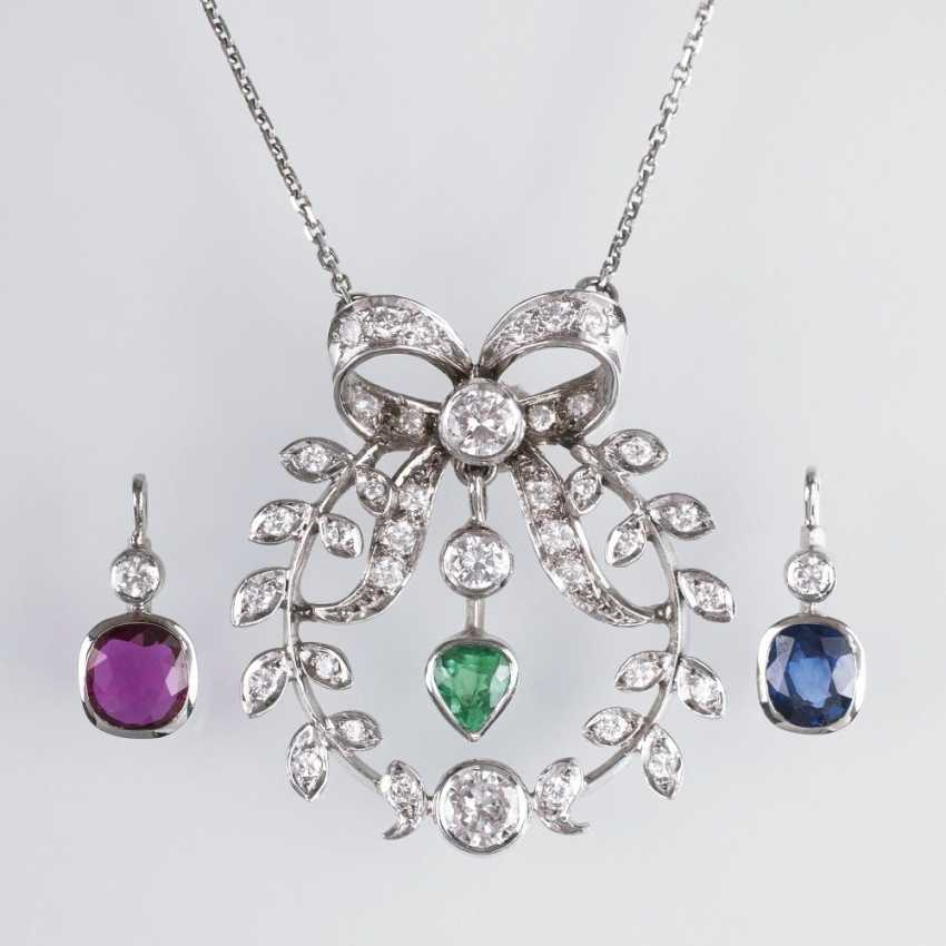 Pendant in the art Nouveau style, with color precious stone danglers - photo 1