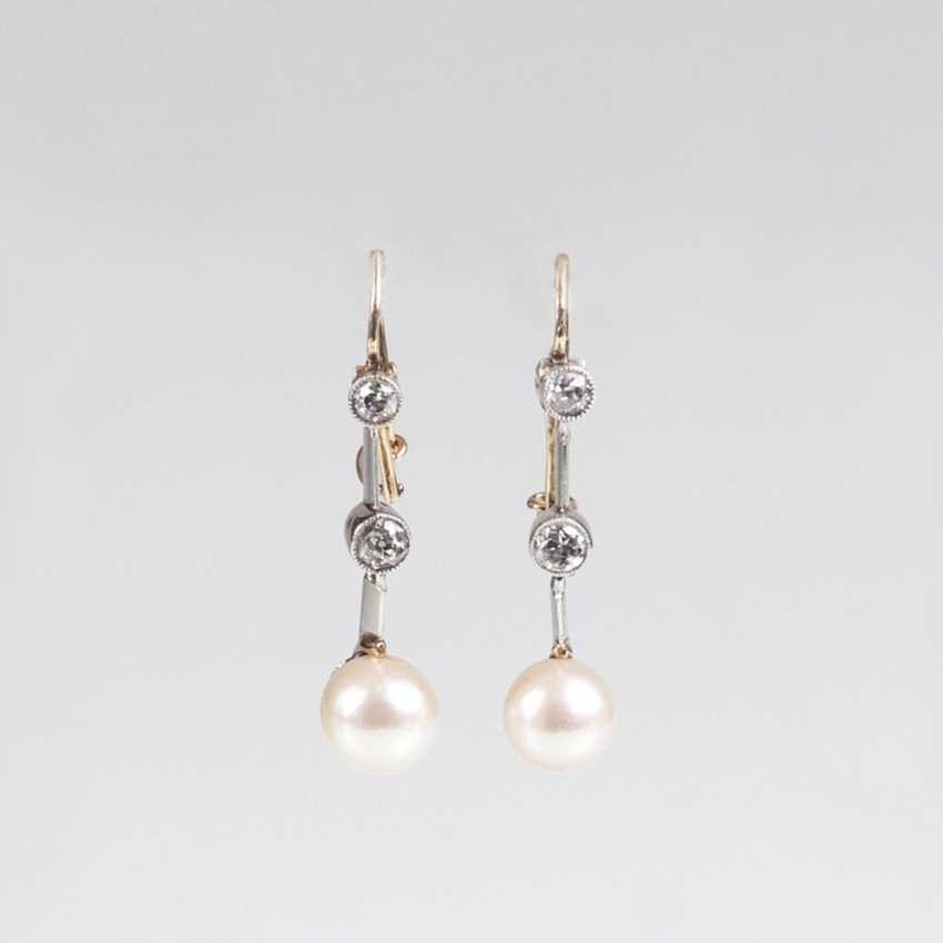 Pair of earrings with natural pearls and old European cut diamonds - photo 1