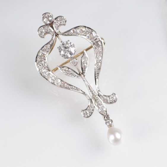 De style art nouveau Diamant Pendentif avec Chaîne - photo 1