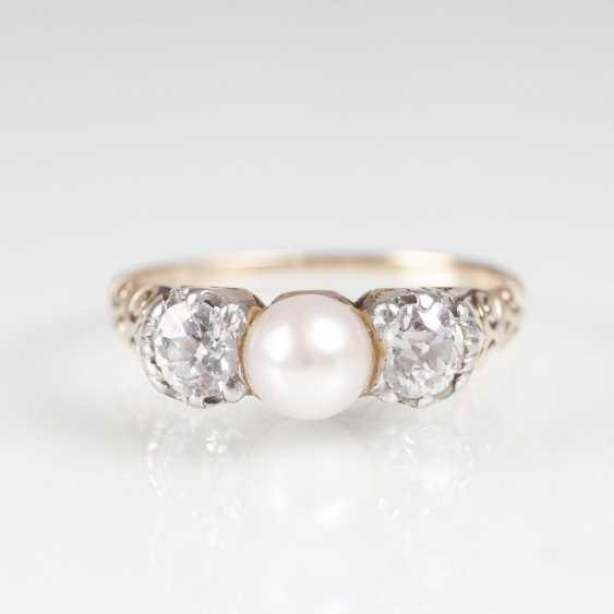 Art Nouveau Diamond Pearl Ring - photo 1