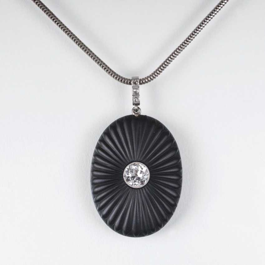 Art Deco pendant with big old European cut diamond and Onyx - photo 1