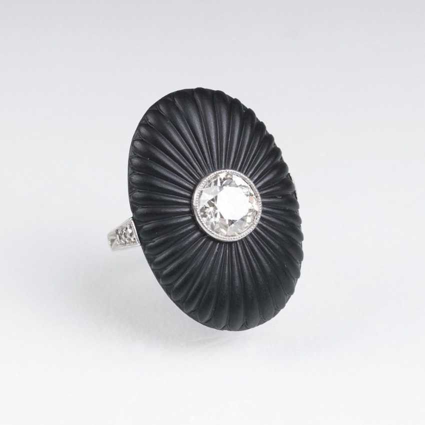 Art Deco Ring with old European cut diamond and Onyx - photo 1