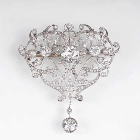 Very rare, high-profile art-Nouveau diamond brooch - photo 1