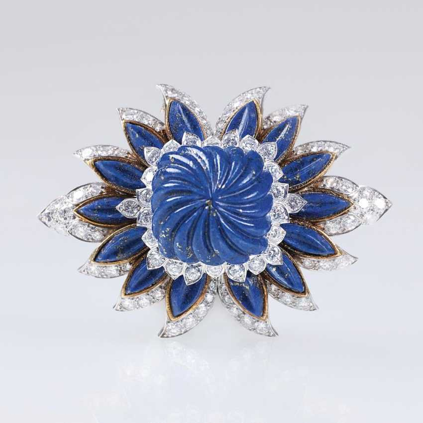 High profile, excellent Vintage lapis lazuli and diamond brooch - photo 1
