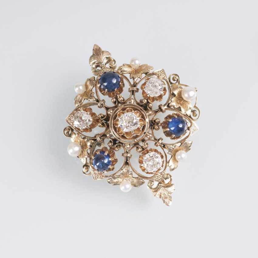 Antique Diamond Sapphire Brooch - photo 1