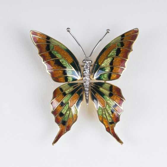 Außergewöhnliche Emaille-Brillant-Brosche 'Schmetterling' - photo 1