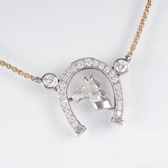 Diamond brilliant pendant 'horse' with chain - photo 1