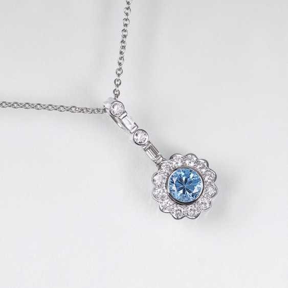 Topaz and diamond pendant with chain - photo 1