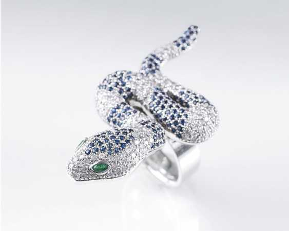 Snake Ring with brilliant and sapphire trim - photo 1