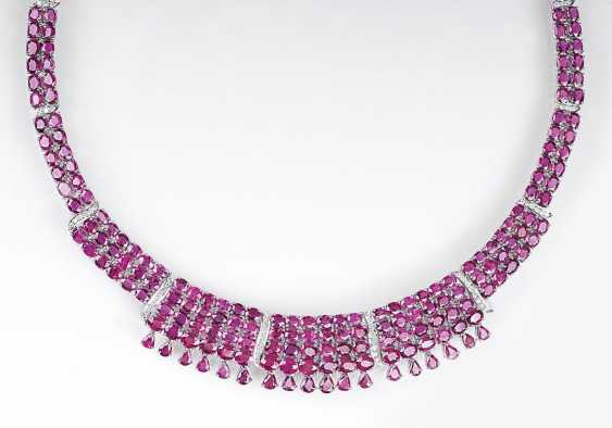 Color of fine ruby and diamond necklace in Art-déco Design - photo 1