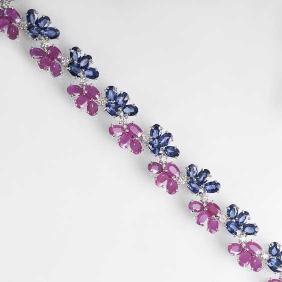 Ruby-sapphire bracelet with diamonds - photo 1