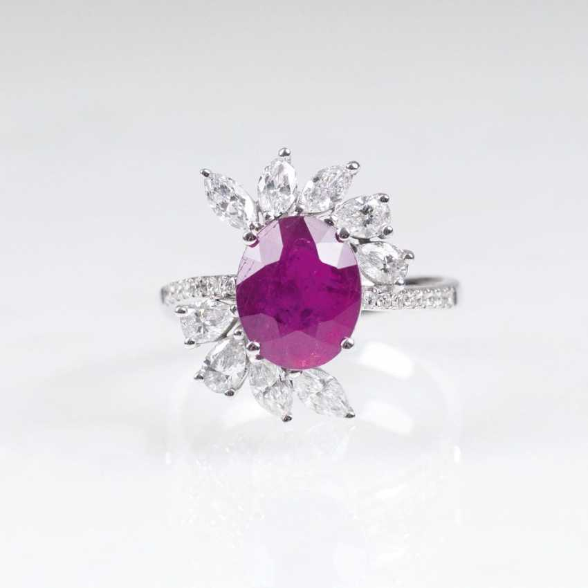 Diamond-diamond Ring with natural ruby - photo 1