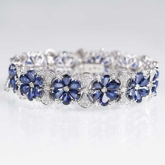 Sapphire and diamond bracelet with flower decor - photo 1