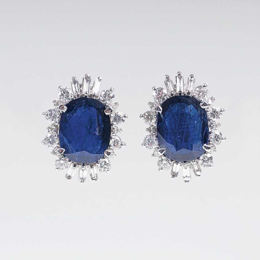Pair of elegant earrings with natural Burmese sapphires and diamond trim - photo 1