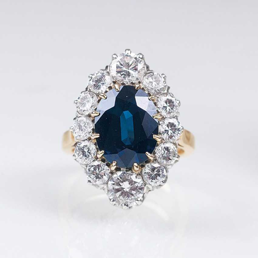 Parisian Art Nouveau Ring with natural sapphire and diamonds - photo 1