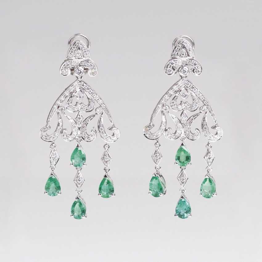 Paar Smaragd-Brillant-Ohrhänger - Foto 1