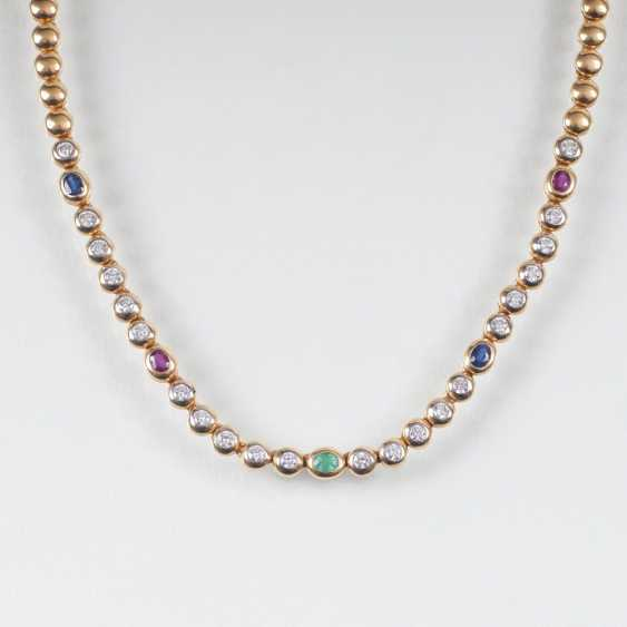 Vintage gold chain with diamonds, sapphires, ruby and emerald - photo 1