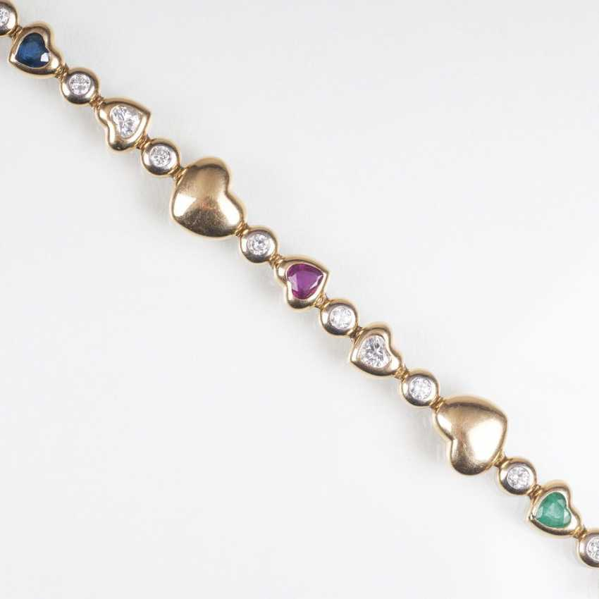 Vintage gold bracelet with diamonds, rubies, sapphires and emeralds - photo 1