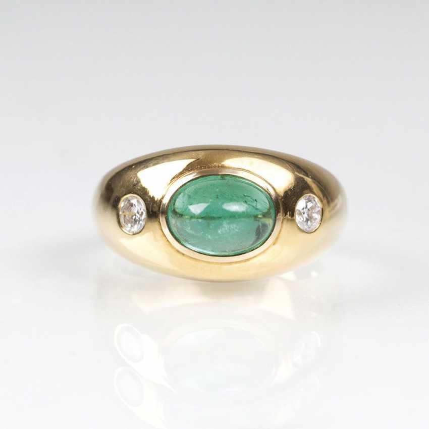 Emerald And Diamond Band Ring - photo 1